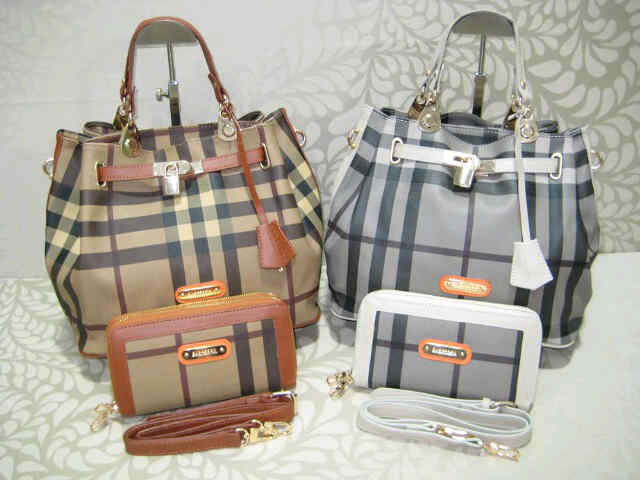 Tas Burberry KD 100087 Set Semi Super (kode BUR017) Coffee-Grey
