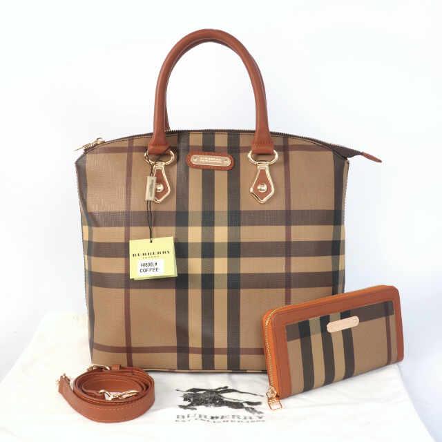 Tas Burberry Lockit Set Semi Super (kode BUR024) Coffee Brown