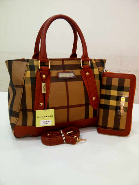 Tas Burberry Totebag Set Semi Super (kode BUR023) Coffee