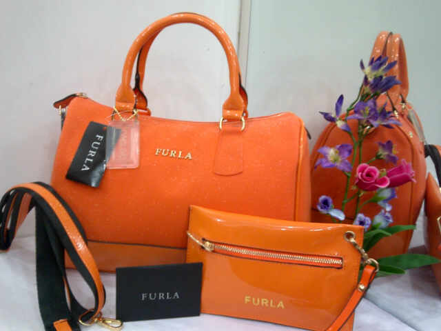 Tas Furla Jelly Glitter 808 Set Super (kode FUR047) Orange