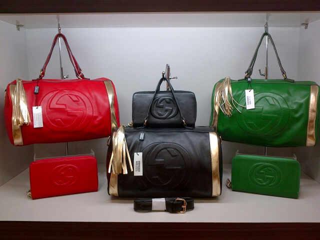 Tas Gucci Speedy 282302 Set (kode GUC018) Merah-Hitam-Hijau