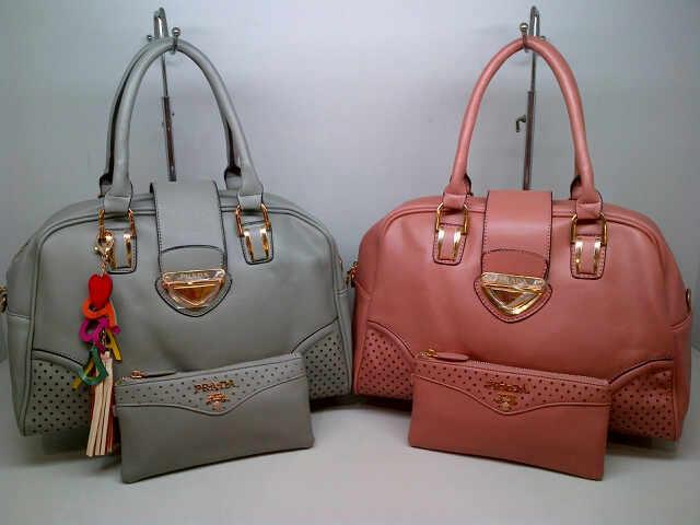 Tas Sandang Prada 9852 Set (kode PRA055) Grey-Pink